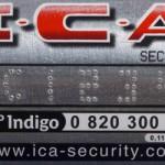 détail sticker numéroté ica security