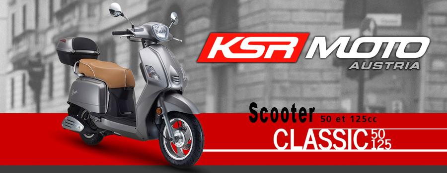 Scooter KSR Moto modèle Classic 50 et 125cc